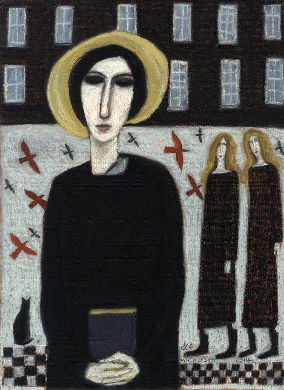 Three Women and a cat 40 x 30cm s