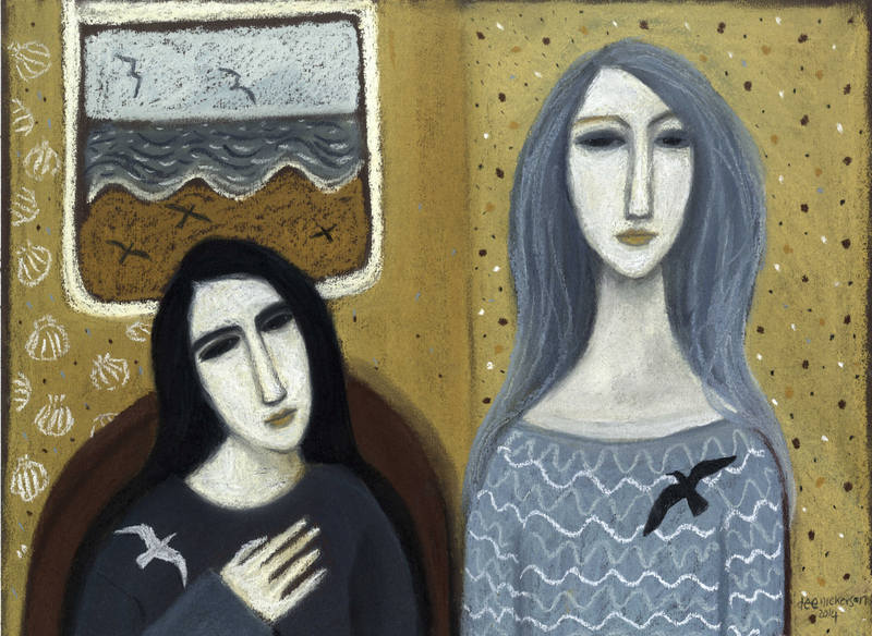 Two Women with Birds 30 x 40cm s