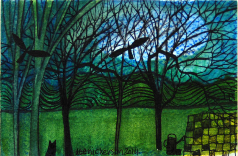 Two Crows in the Orchard 10x15cm