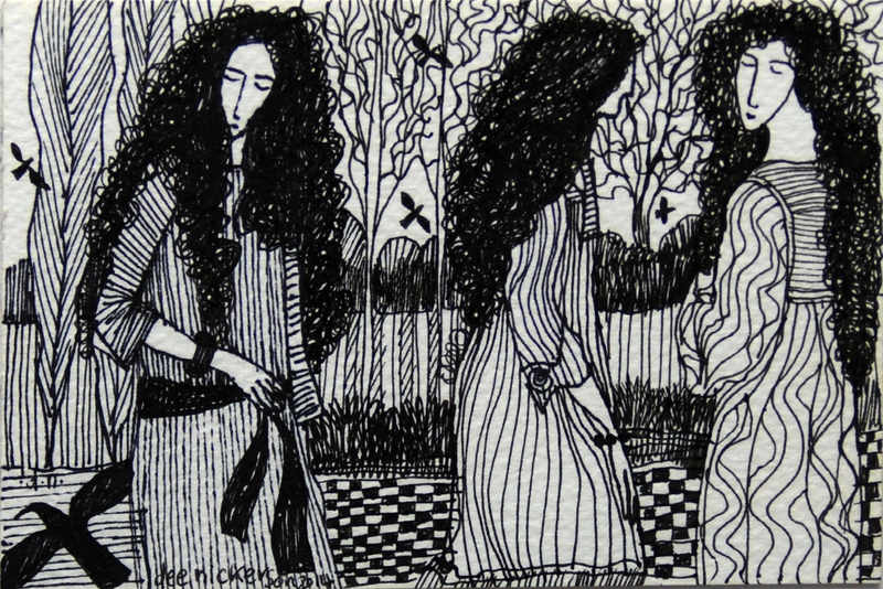Three Girls with pre-raphalite Curls 10x15cm