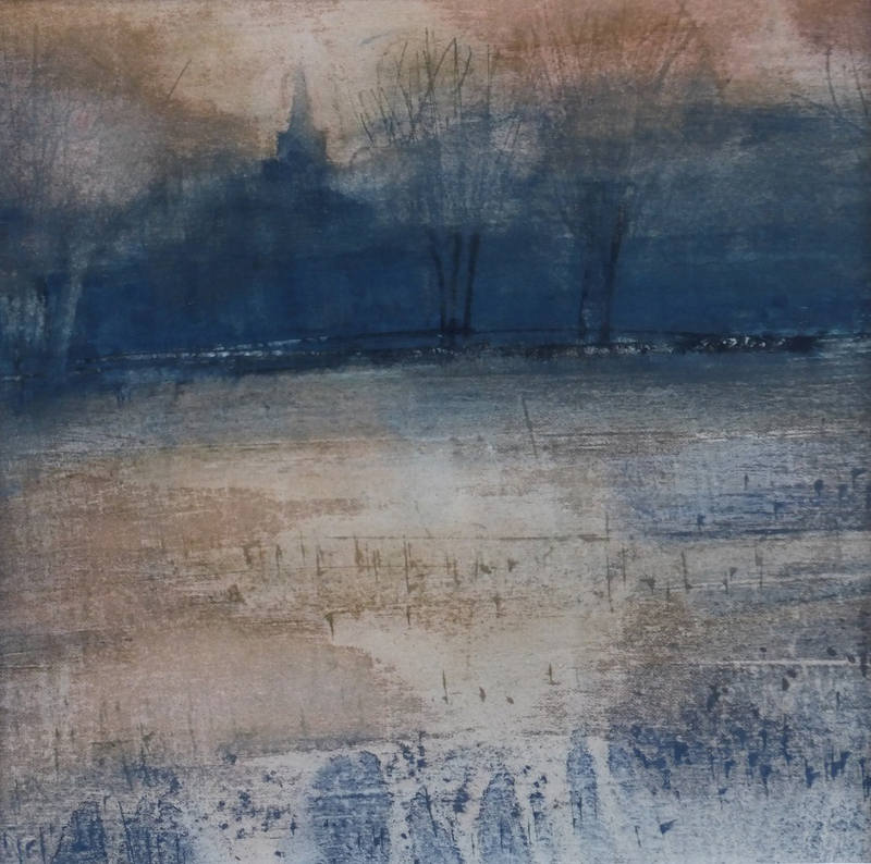 Across the Flooded Meadows to Earsham Sara Johnson 23x23cm