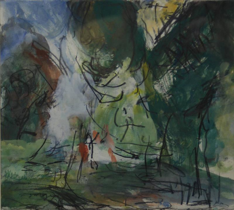 Italian Landscape Sargy Mann 20x23cm
