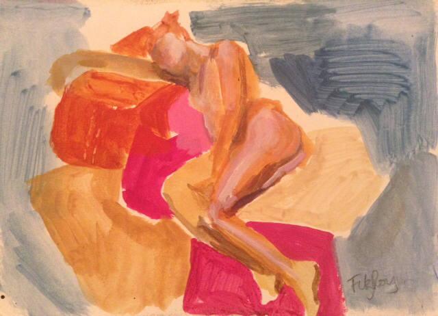 Nude on Pink Cusion Cornilia FitzRoy 13x20cm