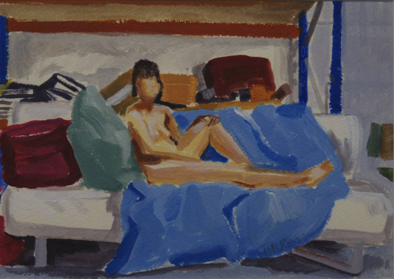 Nude on Blue Sofa 16x23
