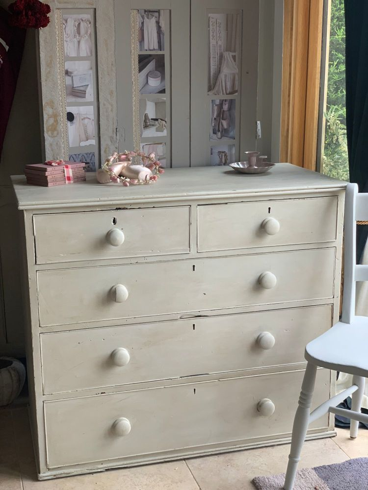 Antique pine painted chest of drawers