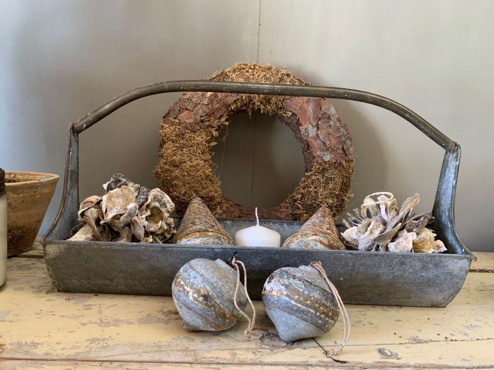 Aged zinc basket