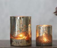 Silvered glass tea light holder