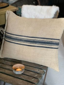 Heavy french grain sack cushion