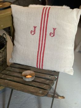 SOLD French linen monogram cushion