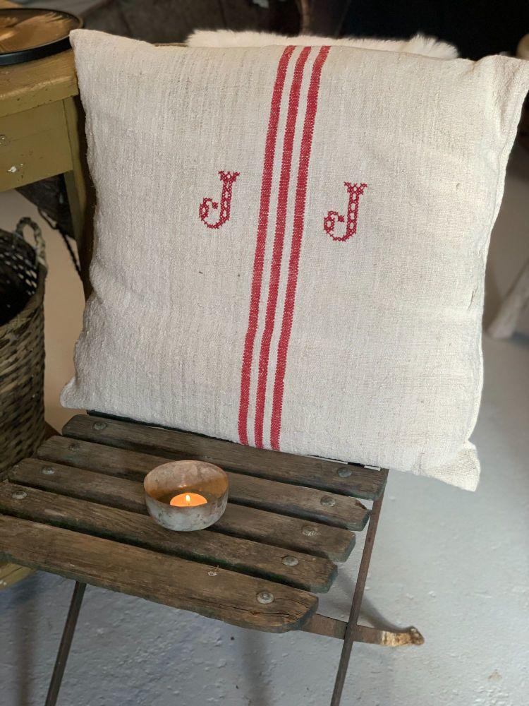 French linen monogram cushion