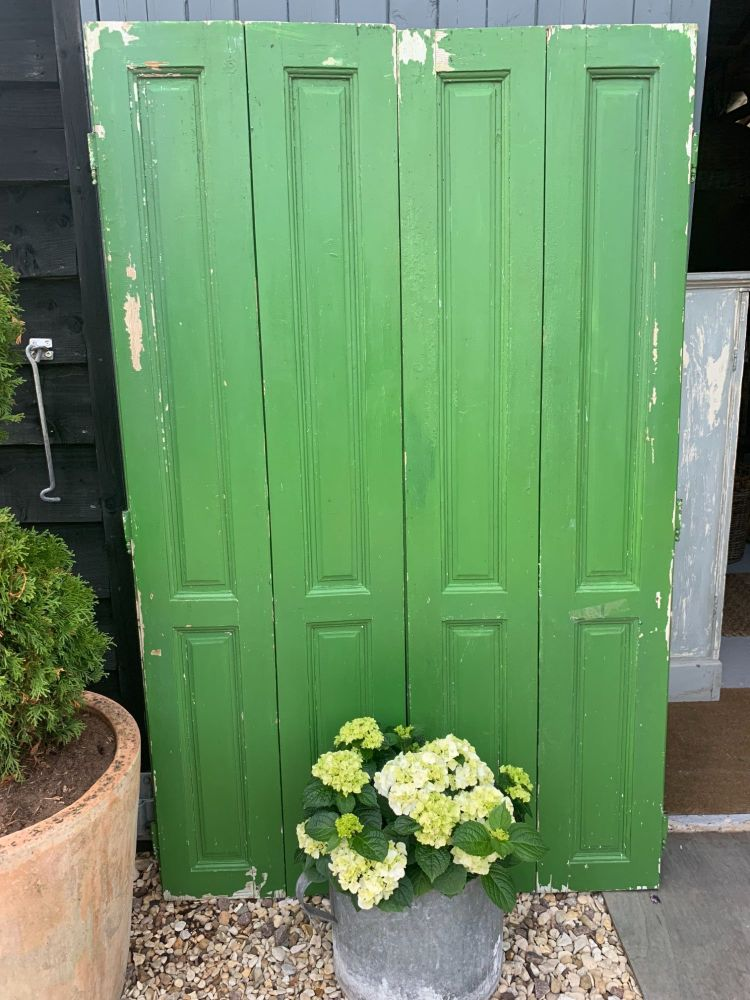Set of original green painted Country House shutters