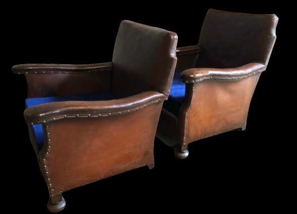 Pair of English Country House tan leather armchairs