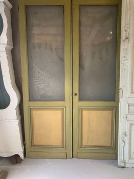 Pair of etched glass french salon doors