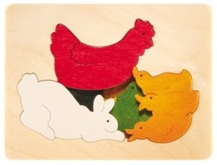 3 Layer George Luck Chicken and Friends Wooden Puzzle