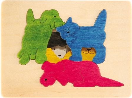 3 Layer George Luck Dog and Friends Wooden Puzzle