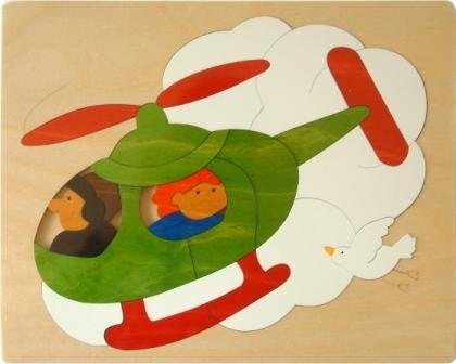 22 piece George Luck Helicopter Wooden Puzzle
