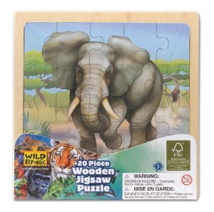 Wild Republic Elephant 20 Piece Wooden Jigsaw