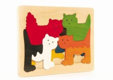 Hape Cats George Luck Wooden Layers Puzzle