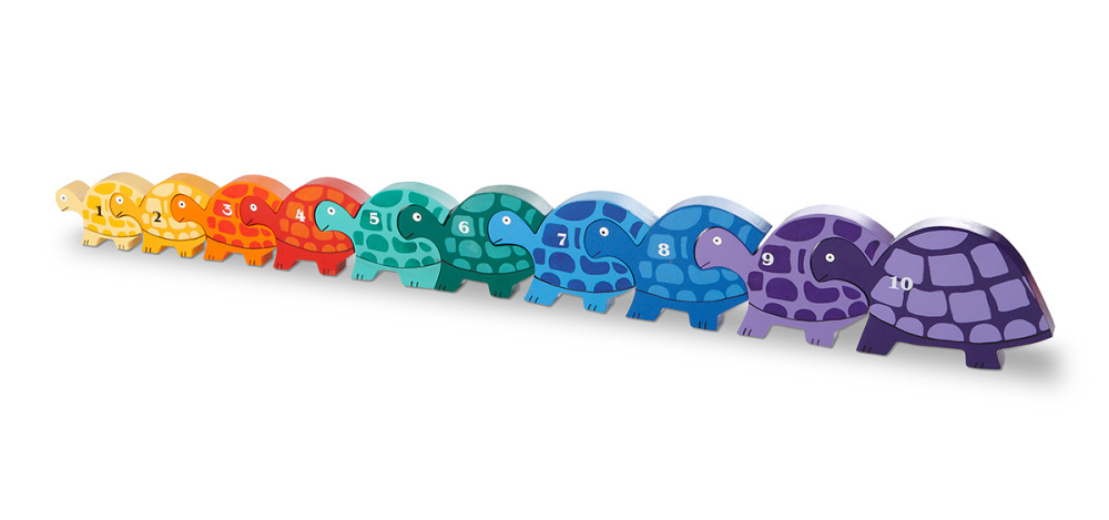 Wood Like To Play Wooden Number Tortoise Row Puzzle