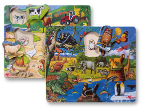 Reversible Wooden Wildlife / Farmyard Puzzle
