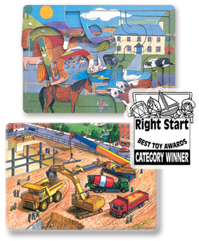 Wooden Farmyard Look 'N' Lift Scroll Puzzle