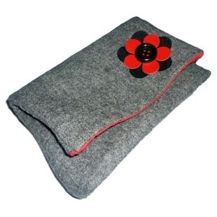 grey tweed clutch with redblack flower