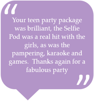 Girls pamper parties Kent home page quote 2
