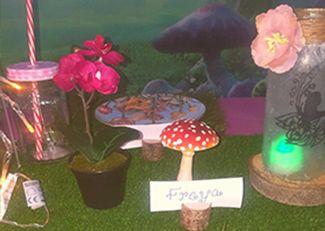 Girls pamper parties Kent fairy themed table arrangement