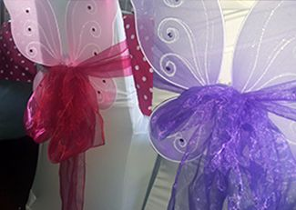 Girls pamper parties Kent fairy themed chair covers