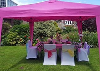 Girls pamper parties Kent party extras awning