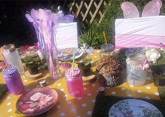 Girls pamper parties South East London and Kent fairy themed table set up