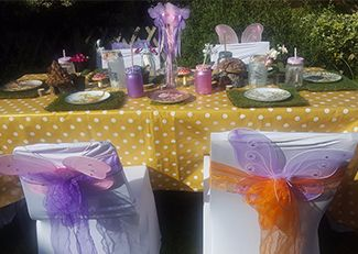 Girls pamper parties South East London and Kent fairy themed table set up w