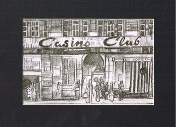 """""""Casino Club"""" - Black mounted and backed, ready for framing. Overall size - 8 inches wide by 6 inches tall."""