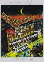 """Here Comes the Night Owl"" - Limited Edition Print, with Artist's Individual ""Remarque"" 50 Copies Commissioned"