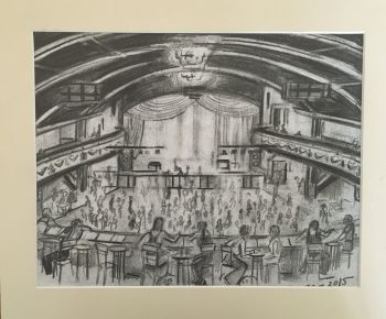 """Wigan Casino, 3 am"" - Original Pencil Sketch, Mounted and Backed Ready for Framing"