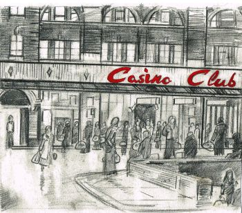 """Waiting at the Casino Club"" - Original pencil sketch with acrylic paint addition"