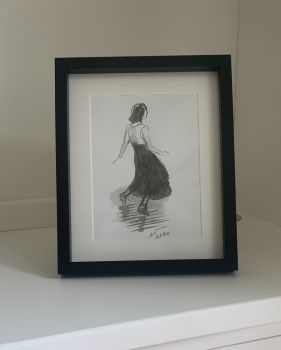 Soul Girl in Ink - a Sumi-e Black Ink Brush Painting, Mounted and Framed