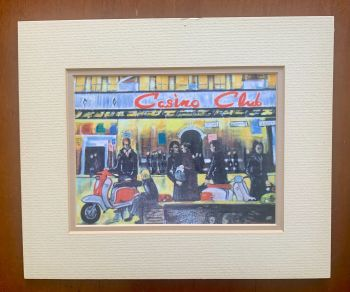 """""""Casino Club Scooters"""" - a limited edition print, double mounted and backed. Size, 25 cm tall by 21 cm wide."""