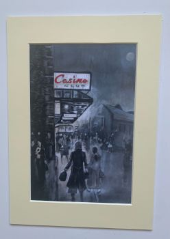 """""""Anticipation II"""" - a limited edition lithograph, with the Casino sign highlighted in red acrylic paint. Fits a standard A4 frame."""