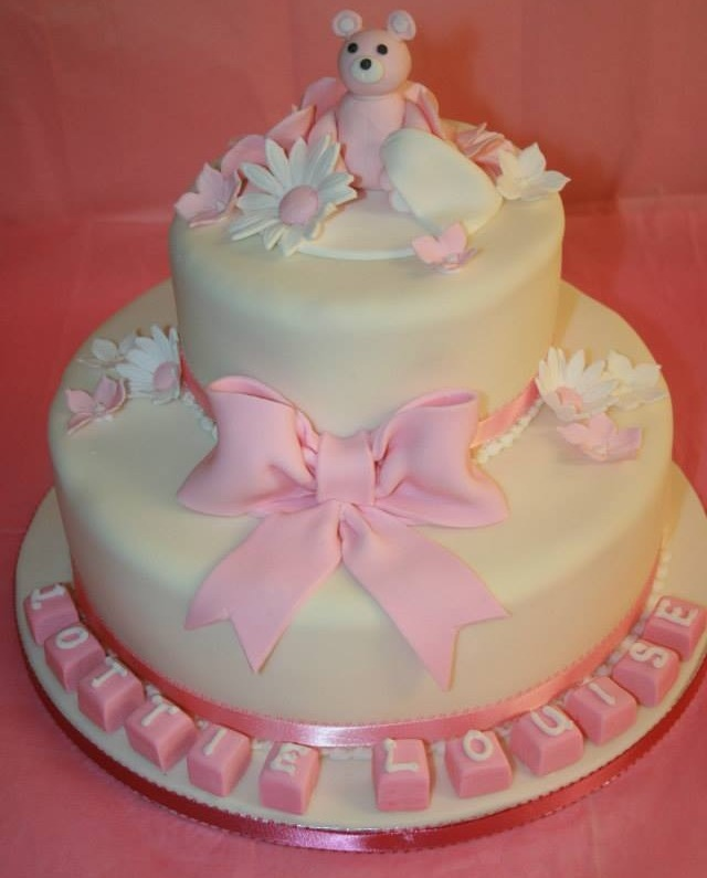two tier pink teddy christening cake