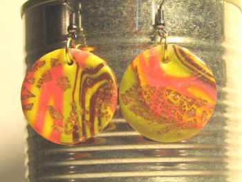 Folly Bloom polymer clay drop earrings.