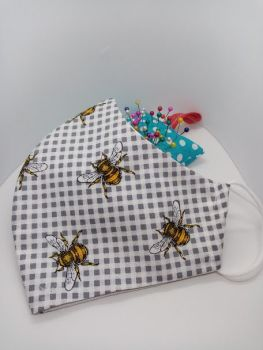 Folly Bloom. Cotton Bee Face coverings/masks. Reusable and Machine Washable. Free UK postage.