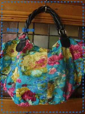 Floral turquoise & bright's canvas fabric bag.