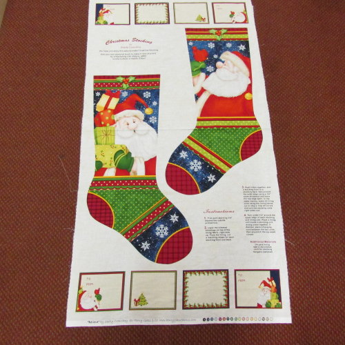 100% Cotton Christmas Stocking panel  to make 2015