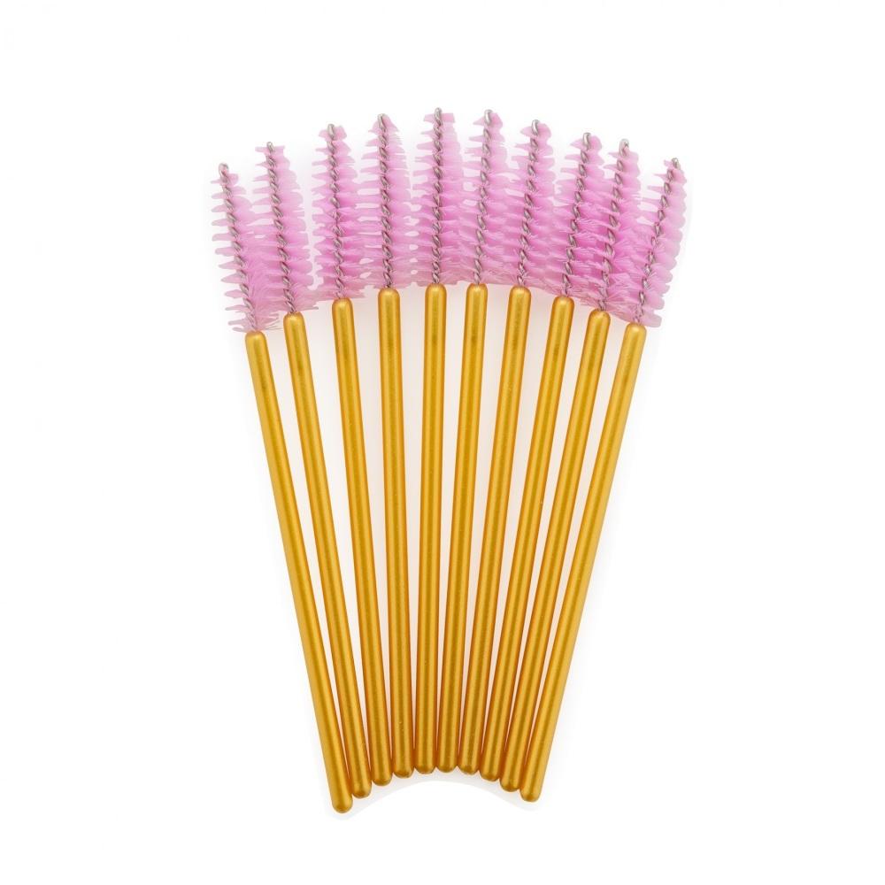 <!-- 0015 -->Gold & Pink Mascara Wands Brushes x 10