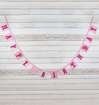 Vintage Happy Birthday Bunting - Pink or Blue