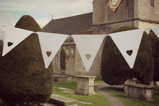 White Heart Wedding Bunting