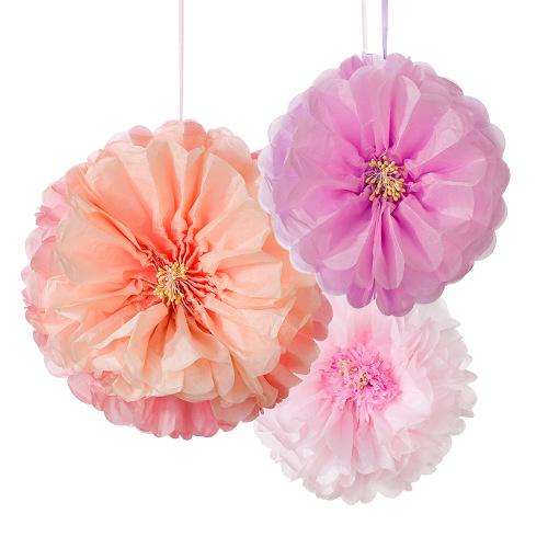 Blush Pastel Flower Pom Poms
