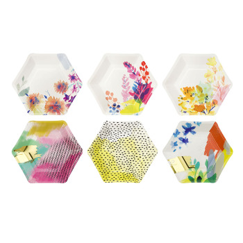 Fluorescent Floral Hexagonal Plates Bright Summer Party Paper Plates