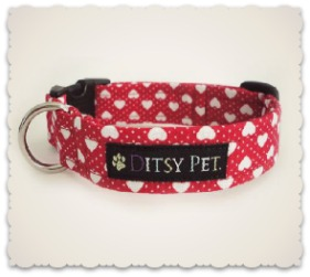 Ditsy Pet Love Heart Collar and Leads